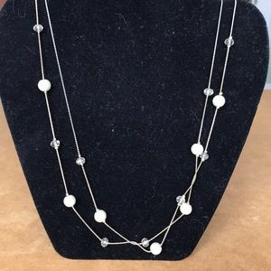 Jewelry - Crystal bead and pearl long or doubled necklace
